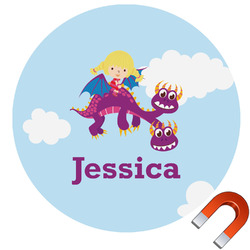 Girl Flying on a Dragon Round Car Magnet (Personalized)