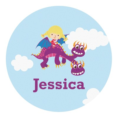 Girl Flying on a Dragon Round Decal (Personalized)