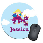 Girl Flying on a Dragon Round Mouse Pad (Personalized)