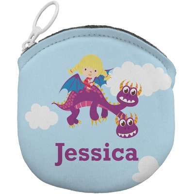 Girl Flying on a Dragon Round Coin Purse (Personalized)