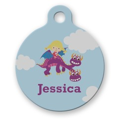 Girl Flying on a Dragon Round Pet Tag (Personalized)