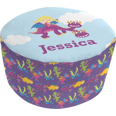 Girl Flying on a Dragon Round Pouf Ottoman (Personalized)