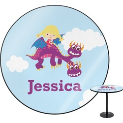 Girl Flying on a Dragon Round Table (Personalized)