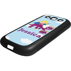 Girl Flying on a Dragon Rubber Samsung Galaxy 3 Phone Case (Personalized)