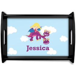 Girl Flying on a Dragon Black Wooden Tray (Personalized)