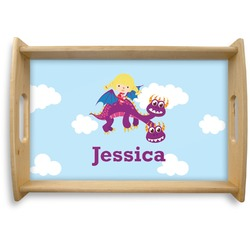 Girl Flying on a Dragon Natural Wooden Tray (Personalized)