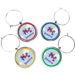 Girl Flying on a Dragon Wine Charms (Set of 4) (Personalized)