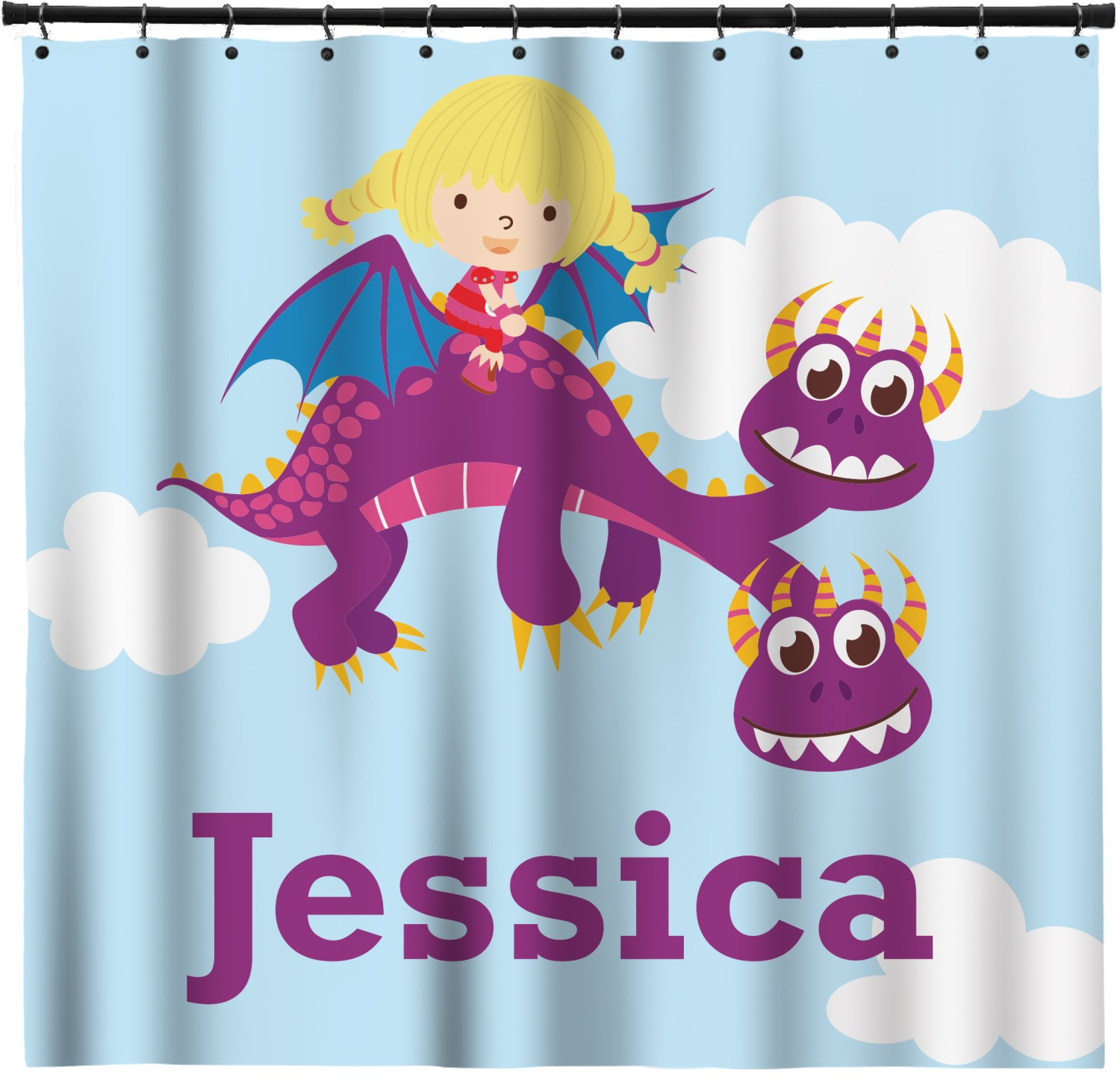 Girl Flying On A Dragon Shower Curtain Personalized