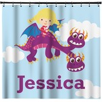 Girl Flying on a Dragon Shower Curtain (Personalized)