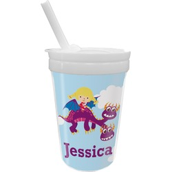 Girl Flying on a Dragon Sippy Cup with Straw (Personalized)