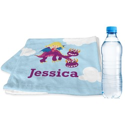 Girl Flying on a Dragon Sports Towel (Personalized)