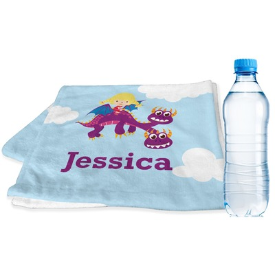 Girl Flying on a Dragon Sports & Fitness Towel (Personalized)