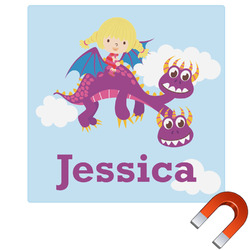 Girl Flying on a Dragon Square Car Magnet (Personalized)
