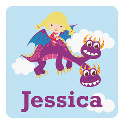 Girl Flying on a Dragon Square Decal - Large (Personalized)