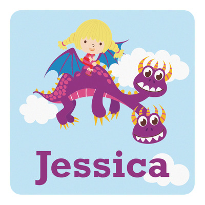 Girl Flying on a Dragon Square Decal (Personalized)