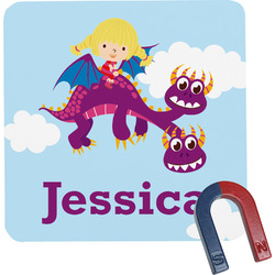 Girl Flying on a Dragon Square Fridge Magnet (Personalized)
