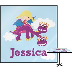Girl Flying on a Dragon Square Table Top (Personalized)