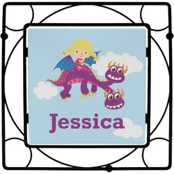 Girl Flying on a Dragon Square Trivet (Personalized)