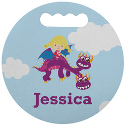 Girl Flying on a Dragon Stadium Cushion (Round) (Personalized)