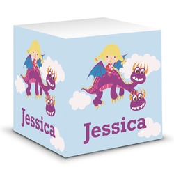Girl Flying on a Dragon Sticky Note Cube (Personalized)