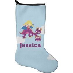 Girl Flying on a Dragon Holiday Stocking - Neoprene (Personalized)