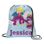 Girl Flying on a Dragon Drawstring Backpack (Personalized)