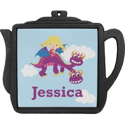 Girl Flying on a Dragon Teapot Trivet (Personalized)