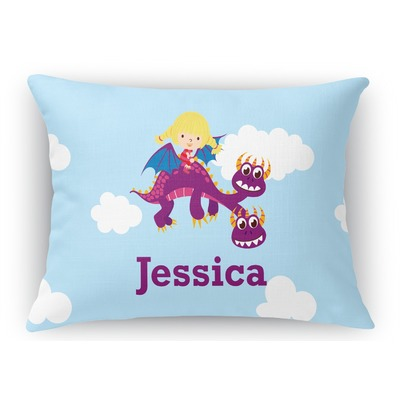 Girl Flying on a Dragon Rectangular Throw Pillow Case (Personalized)