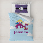 Girl Flying on a Dragon Toddler Bedding w/ Name or Text