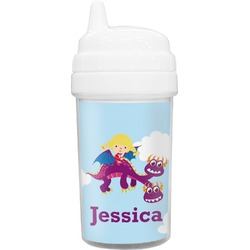Girl Flying on a Dragon Sippy Cup (Personalized)