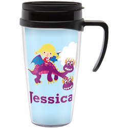 Girl Flying on a Dragon Travel Mug with Handle (Personalized)