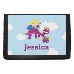 Girl Flying on a Dragon Trifold Wallet (Personalized)