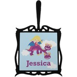Girl Flying on a Dragon Trivet with Handle (Personalized)