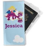 Girl Flying on a Dragon Travel Document Holder