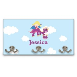 Girl Flying on a Dragon Wall Mounted Coat Rack (Personalized)