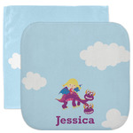 Girl Flying on a Dragon Facecloth / Wash Cloth (Personalized)