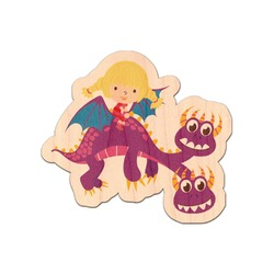 Girl Flying on a Dragon Genuine Wood Sticker (Personalized)