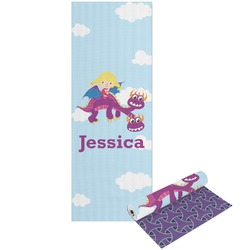 Girl Flying on a Dragon Yoga Mat - Printable Front and Back (Personalized)