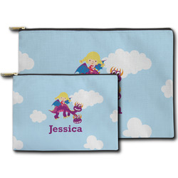Girl Flying on a Dragon Zipper Pouch (Personalized)