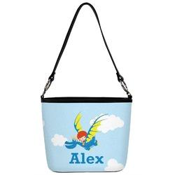 Flying a Dragon Bucket Bag w/ Genuine Leather Trim (Personalized)