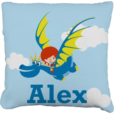 "Flying a Dragon Faux-Linen Throw Pillow 18"" (Personalized)"