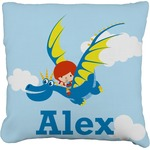 Flying a Dragon Faux-Linen Throw Pillow (Personalized)