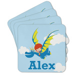 Flying a Dragon Cork Coaster - Set of 4 w/ Name or Text