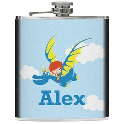 Flying a Dragon Genuine Leather Flask (Personalized)