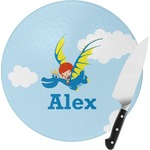 Flying a Dragon Round Glass Cutting Board (Personalized)