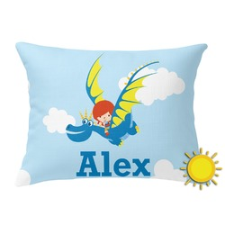 Flying a Dragon Outdoor Throw Pillow (Rectangular) (Personalized)