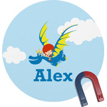 Flying a Dragon Round Magnet (Personalized)