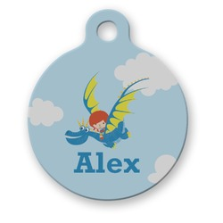 Flying a Dragon Round Pet Tag (Personalized)