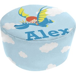 Flying a Dragon Round Pouf Ottoman (Personalized)