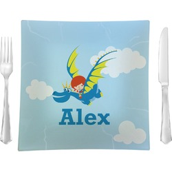 "Flying a Dragon Glass Square Lunch / Dinner Plate 9.5"" - Single or Set of 4 (Personalized)"